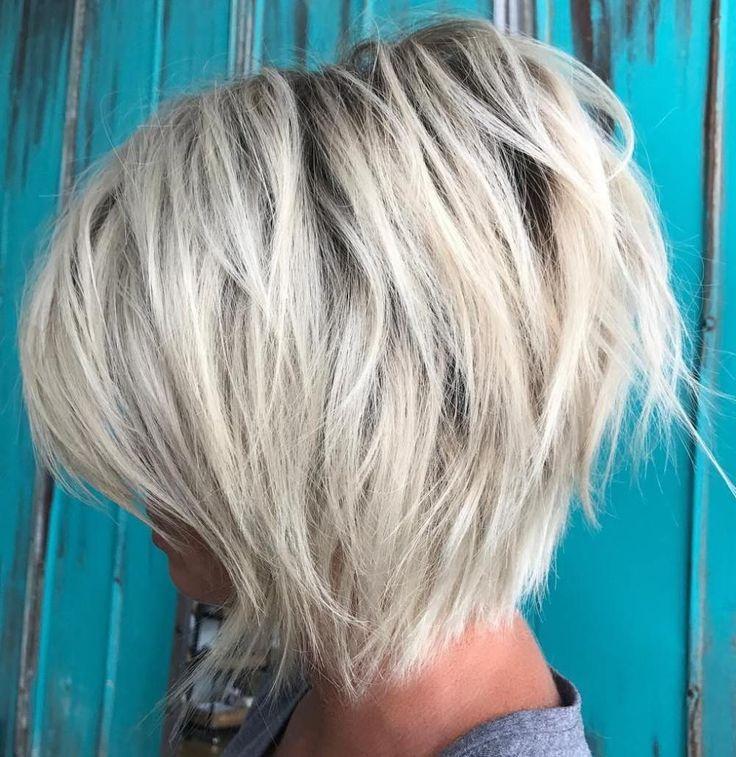 Ash Blonde Layered Bob with Black Root #BlondeHairstylesMedium