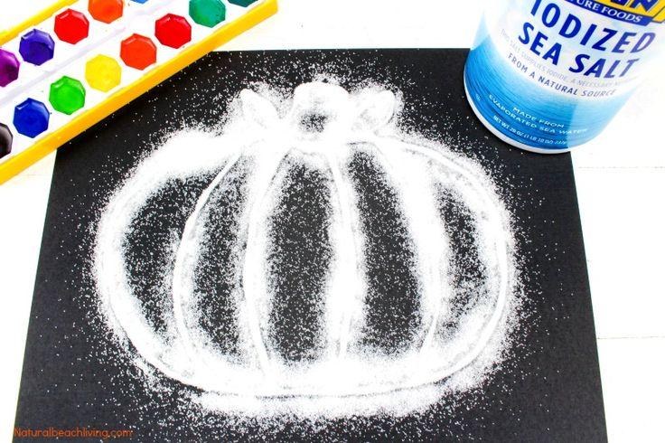 How to Make The Best Halloween Pumpkin Salt Painting, Watercolor Salt Painting for Preschoolers, Pumpkin Preschool Theme, Fun Fall Pumpkin craft kids love