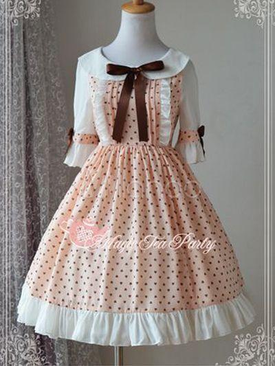 Sweet Chiffon Half Sleeves Turndown Collar Print Lolita Dress - Milanoo.com