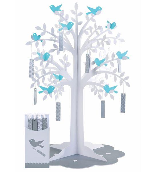 arbre a voeux mariage arbre oiseaux bleu etiquettes livre d 39 or urne marque place et cadeau. Black Bedroom Furniture Sets. Home Design Ideas