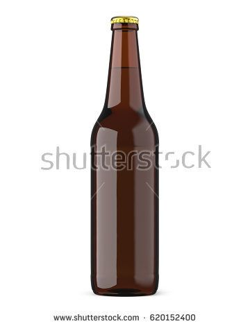Brown bottle with beer with a golden cap. 3D render, isolated on white background.