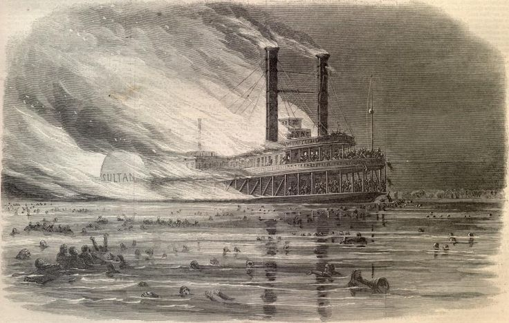 The Wreck of the Sultana  - This was the greatest maritime disaster in United States history. An estimated 1,800 of the 2,400 passengers were killed when three of the ship's four boilers exploded almost at once and the Sultana sank into the Mississippi near Memphis.: Greatest Maritim, American History, Memphis Tennessee, Shipwreck, Boiler Exploding, Mississippi Rivers, States History, Maritim Disasters, The Civil War