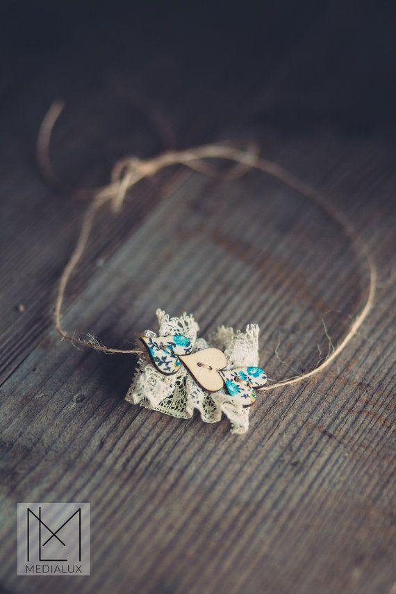 Photo Prop Headband Lace Ruffle Headband Tie by BeautyfromashesUSA
