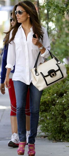 This look will never go out of style, white shirt, great fitting pants, aviator sunglasses, awesome bag and glossy hair
