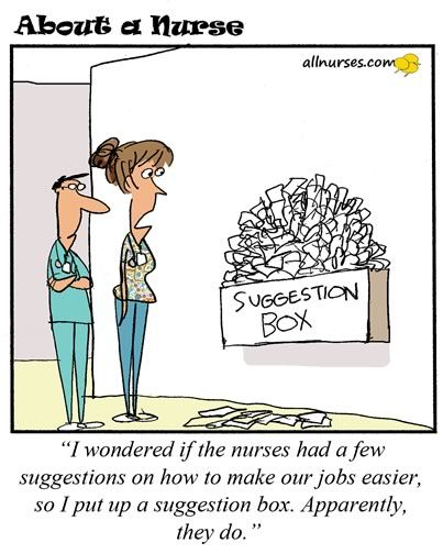 Cartoon: Does your workplace have a Suggestion Box? - About A Nurse - Nursing Cartoon Series Nursing Humor