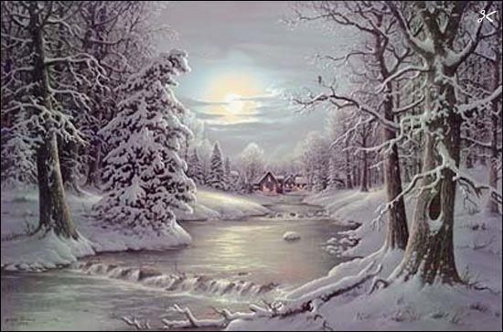 Vintage Christmas Card New-Fallen-Snow