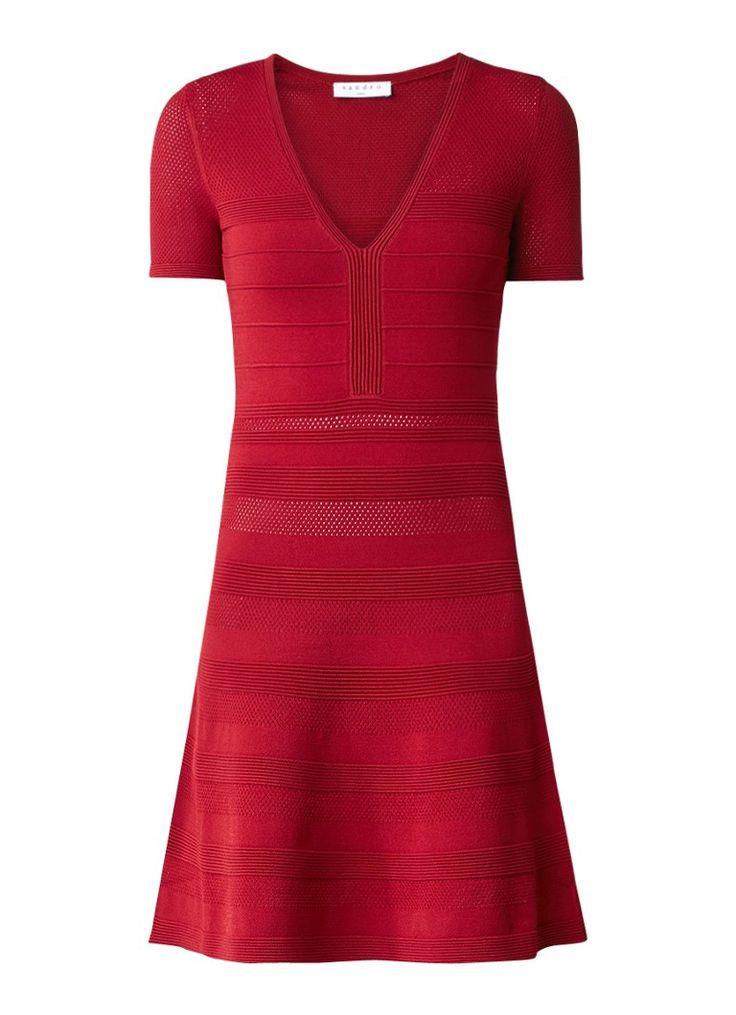 Sandro A-lijn jurk met opengewerkt patroon • de Bijenkorf