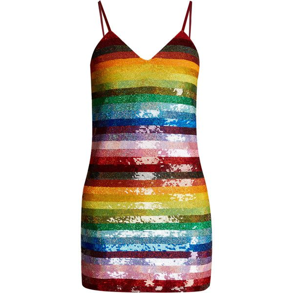 Ashish Rainbow-striped sequin-embellished silk mini dress (4 920 PLN) ❤ liked on Polyvore featuring dresses, ashish, multi, deep v neck cocktail dress, slimming dresses, deep v neck dress, mini cocktail dresses and mini dress