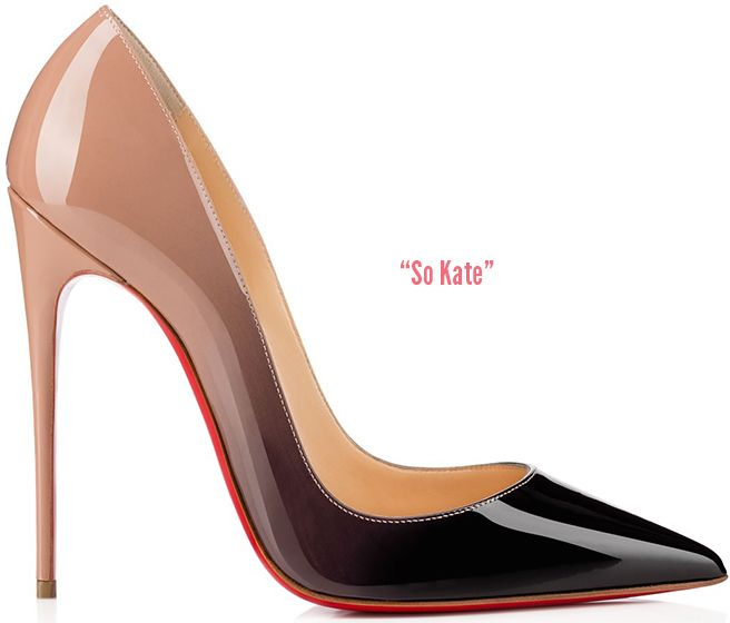 So Kate   pointed-toe pump in nude & black patent leather with a dégradé-effect and 120mm heel, spotted on   Emma Stone  ; available at   Christian Louboutin
