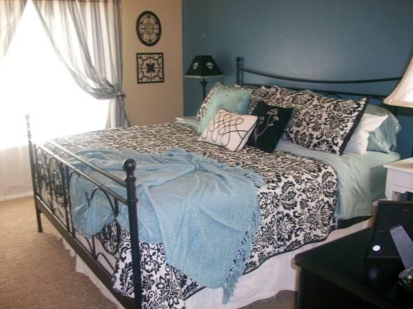 black white damask and blue master bedroom home blue master bedroom