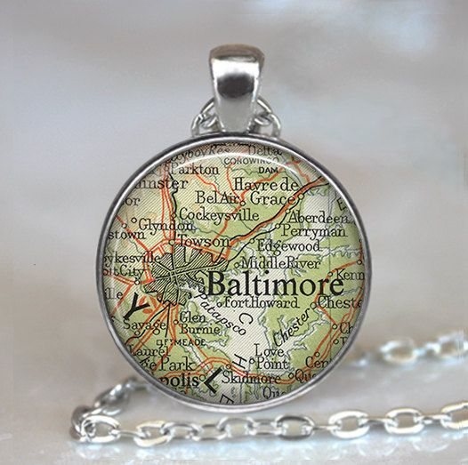 Baltimore, Maryland map pendant, Baltimore necklace, Baltimore pendant, Baltimore map necklace Baltimore keychain key chain key fob by thependantemporium on Etsy https://www.etsy.com/listing/84749435/baltimore-maryland-map-pendant-baltimore