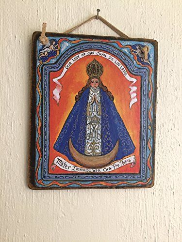 Handmade Virgin Mary Our lady of San Juan de Los Lagos retablo icon Mexican shrine mexico art4thesoul Mexican orange blue 5 x 6 inch gift -- Find out more about the great product at the image link.