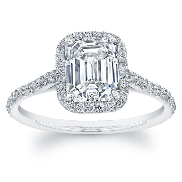 Norman Silverman Emerald Cut Diamond Engagement Ring with Prong Set Diamond  Halo and Eternity Shank