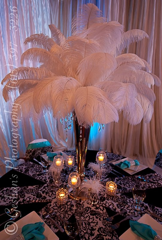Feather Centerpiece Bling Rustic Classic And