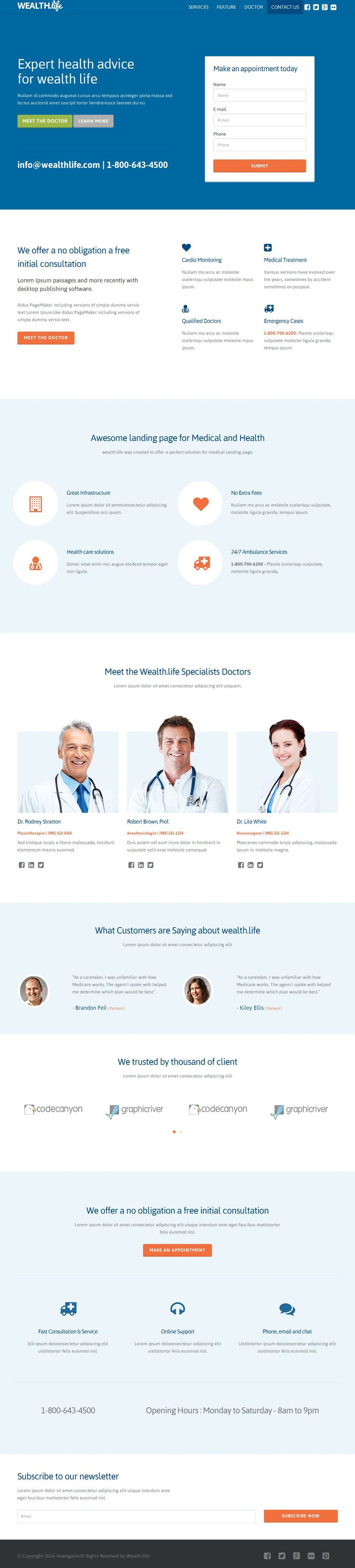 Wealth-Life | Medical Landing Page Templates | Buy and Download: http://themeforest.net/item/wealthlife-medical-landing-page/8028335?WT.ac=category_thumb&WT.z_author=jitu&ref=ksioks