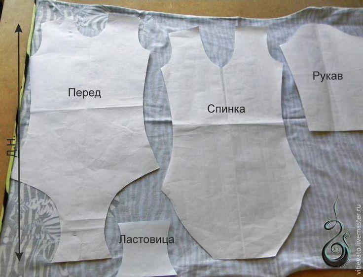 Мой мастер класс посвящен… дочке, пошиву ей купальника для занятий художественной гимнастикой. Материалы: трикотаж эластичный (у меня хлопок кулирка с эластаном), резинка для обработки срезов горловины и для ног, нитки в тон. Инструменты: ножницы, швейная машина/коверлок (у меня 5-ниточный), утюг, и главное руки, свои собственные :) Раскрой. Выкладываем детали по долевой (у меня вдоль кромки…
