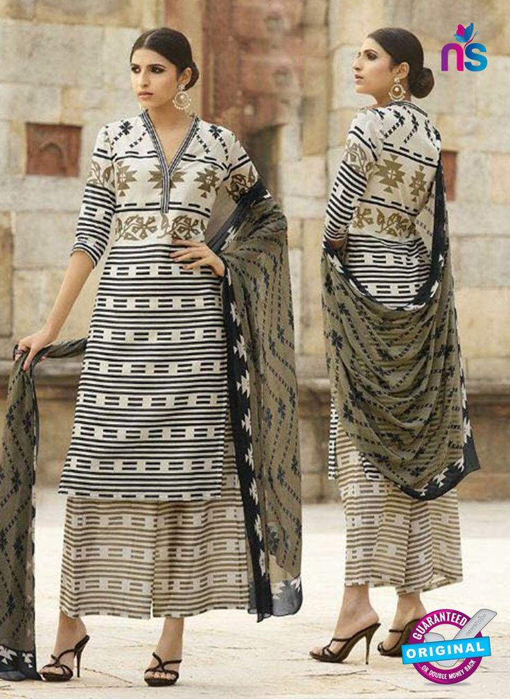 Omtex 1206 A Black and Beige Lawn Cotton Plazzo Suit #omtexsalwarsuitsonline #designeromtexsalwarsuits
