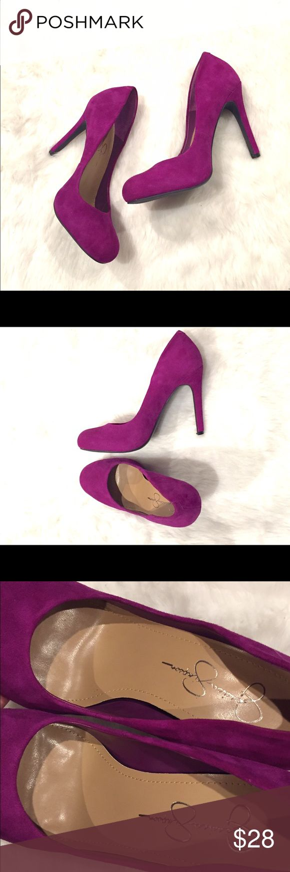 """Jessica Simpson NWOT suede magenta stilettos These suede magenta heels by Jessica Simpson have never been worn outside, only tried on, and are in like-new condition (see pics). Size 7B/37, 4"""" heels.  ❌trades✅bundle discount✅make offer❣ Jessica Simpson Shoes Heels"""