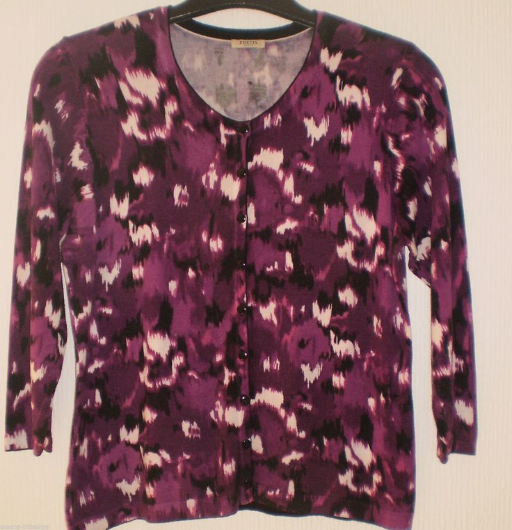 Precis Petite Funky Pattern Purple Multi Coloured Cardigan Top size M 12-14