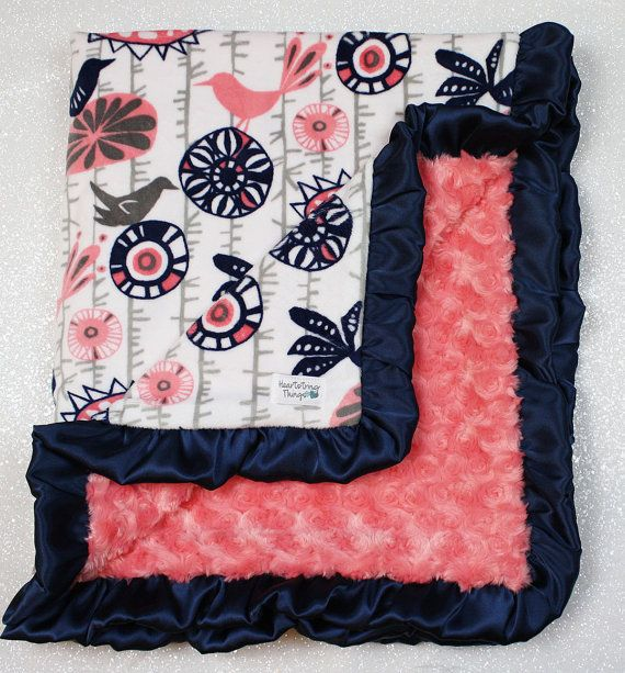 Minky blanket baby Girl blanket soft blanket by HeartstringThings