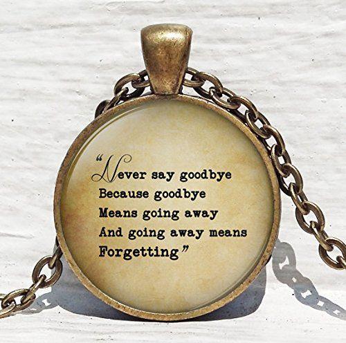 Jewelry tycoon®PETER PAN Necklace, Never Say Goodbye, Peter Pan Jewelry, Glass Photo Art Necklace, Peter Pan Quote, #teeliesfairygarden
