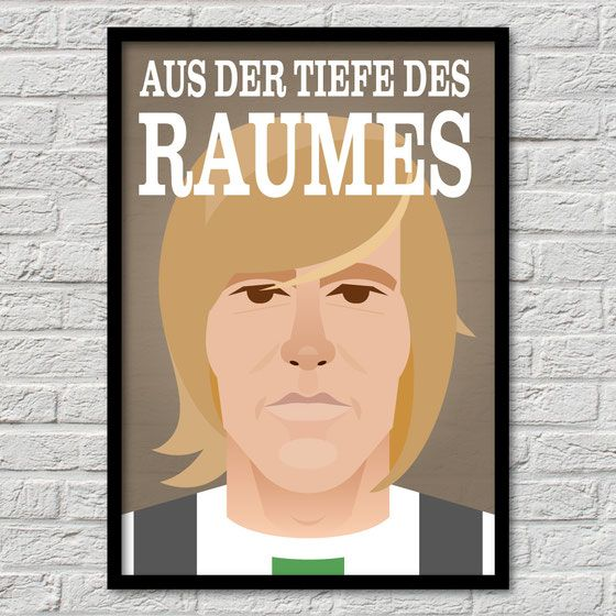 Günter Netzer – Borussia Mönchengladbach  Fussball Flatdesign Bundesliga Vectorart Retro Fohlenelf