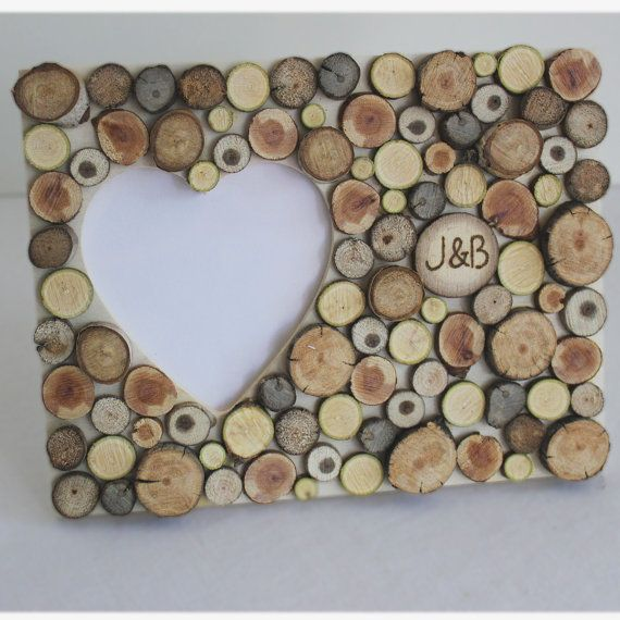 I wanna make this with buttons! Personalized Photo Frame Rustic Wedding Summer by naturallyaspen, $29.00  ------- This gives me idea, *note to self*