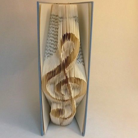 Book folding Pattern for TREBLE CLEF – Music lover – Violin key – Music note – Pattern – DIY -Handmade – T76-202