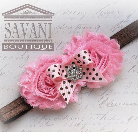 pink baby headband vintage headband shabby chic by SAVANIboutique, $8.99