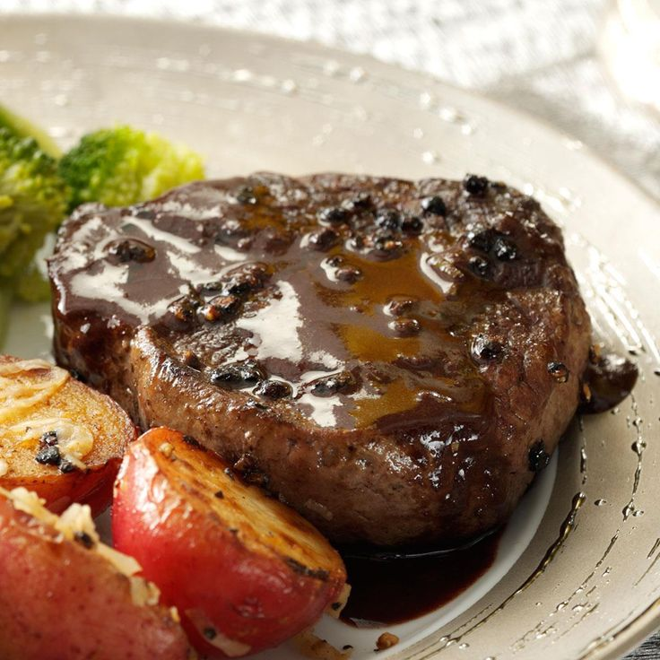 Steak au Poivre for 2 Recipe -With the punch of peppercorns and a smooth, beefy sauce, this steak is delicious. You'll love the hint of sweetness the bittersweet chocolate adds to the savory meat. —Crystal Bruns, Iliff, Colorado