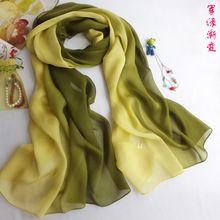 2013 della sciarpa del capo doppio disegno lungo seta di gelso seta pura sciarpa gradiente sciarpa arancione(China (Mainland))