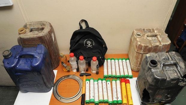 Collected contraband that Panthanaikos fans were able to sneak into the stadium before attacking police.