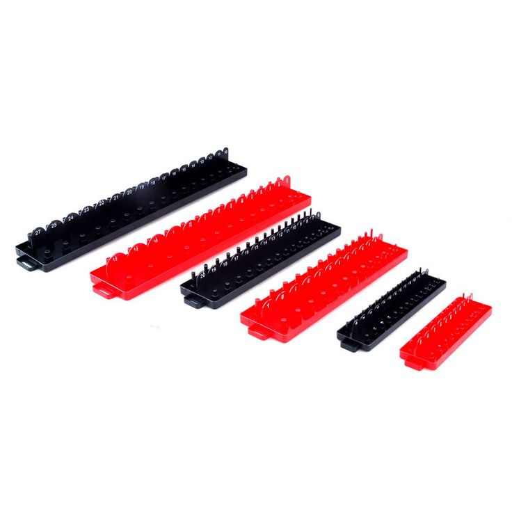 Steel Core 6-Compartment Socket Tray and Small Parts Organizer Set SAE/Metric, Red/Black
