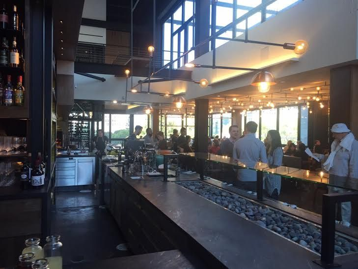 Our Black Moon soapstone countertops and bar at Otium restaurant in Los Angeles