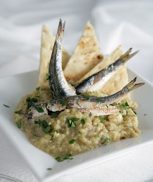 Smoky Eggplant Spread with Grilled Anchovies