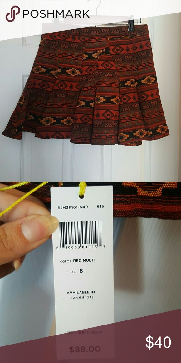 Pleated BCBGeneration skirt with Aztec pattern Really well made.  Never worn tags still attached BCBGeneration Skirts Mini