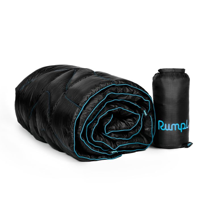 Rumpl 600 Fill Power Duck Feather Down Puffy Outdoor Blanket or Sleeping Bag Replacement, Trekking (54' x 80'), Black/Cyan. The Down Puffy is the Cadillac of outdoor blankets. Period. Take our regular Rumpl Puffy and add, like, at least 5 extra plushness points for natural feathers. 21 D Ripstop Nylon, Machine Washable. Repels water, stains and odors. The Puffy Down has 600 fill duck down insulation and only weighs 1.1LBS. The Puffy Down compresses to roughtly the size of a cantalope (6...