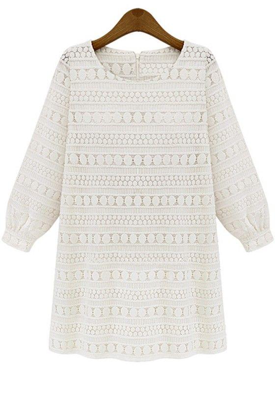 Beige Plain Long Sleeve Wrap Lace Mini Dress