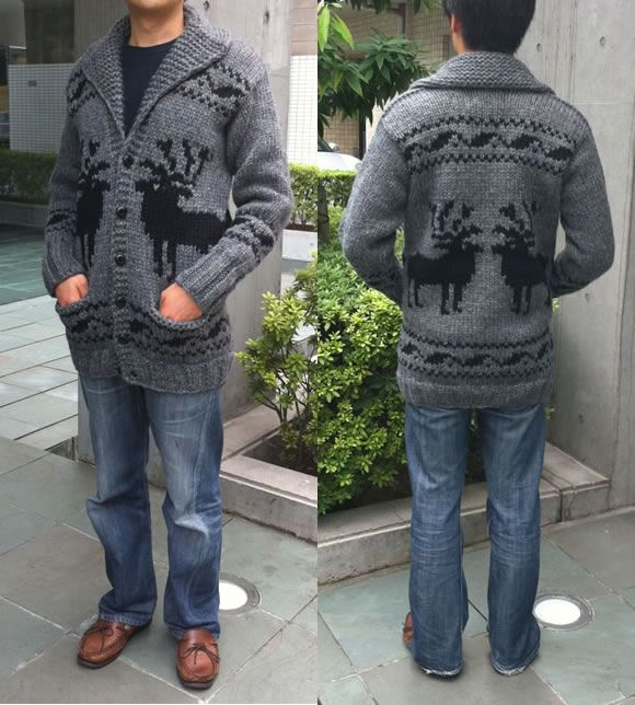 Long Cowichan sweater deer pattern back