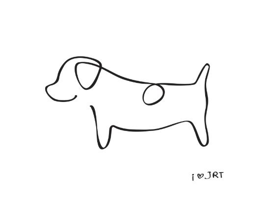 Contour Line Drawing Of A Dog : Abstract jack russell terrier dog line drawing art print