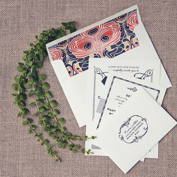 Envelope liner is to DIE FOR...1920s inspired wedding invitations by hellotenfold on Etsy, $10.00