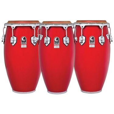 Toca Custom Deluxe Congas, Red Sparkle
