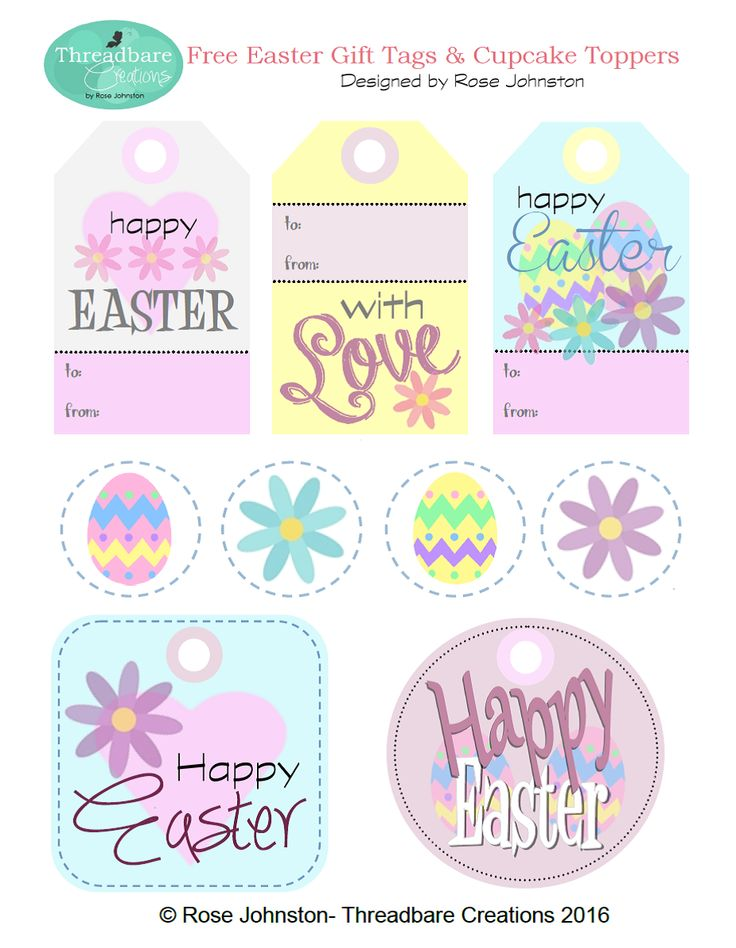Threadbare Creations- Free Easter Gift Tags and Cupcake Toppers