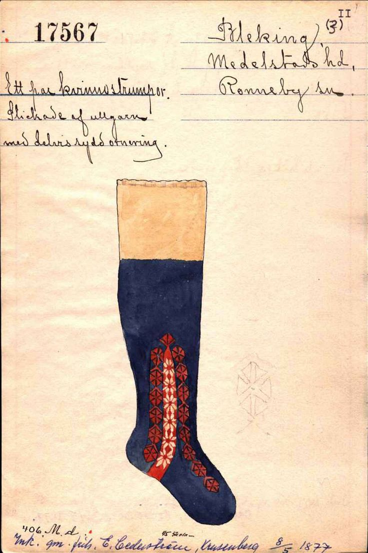 Knitted sock for woman, Blekinge