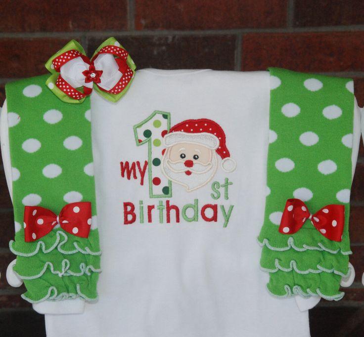 Baby Girl Christmas Birthday Outfit! Santa Christmas outfit for baby girls/Girls…
