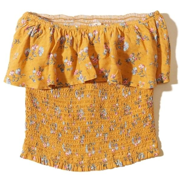 Hollister Smocked Ruffle Tube Top ($25) ❤ liked on Polyvore featuring tops, yellow floral, flutter-sleeve top, yellow tube top, smock top, rayon tops and sweetheart tube top