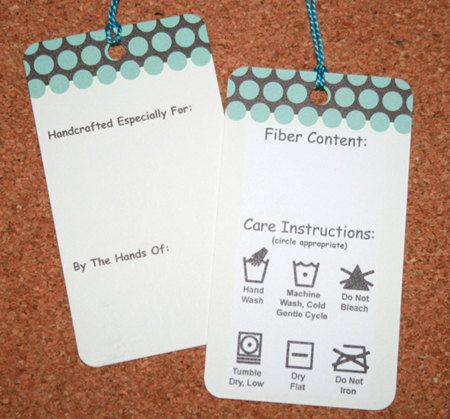 LOVE these labels for handmade fiber-craft items!