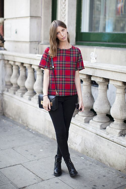 We adore this posh punk look with its A-line checked top and delicate leather goods.