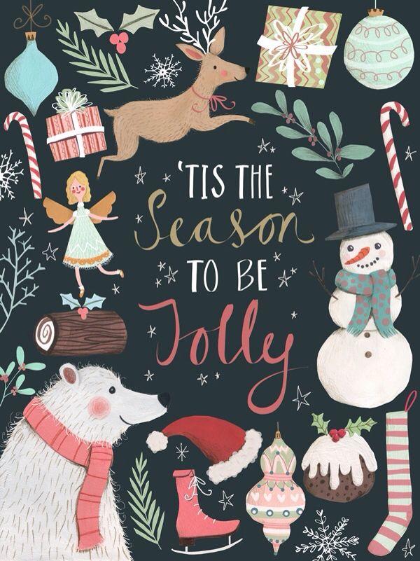 'Tis the Season to be Jolly colorful Christmas chalkboard holiday art print printables.