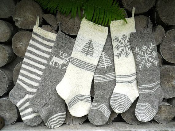 Hand knit Christmas Stocking Grey and White with stripes, deer, tree, snowflake ornament Personalized Christmas decoration Christmas gift on Etsy, $45.00